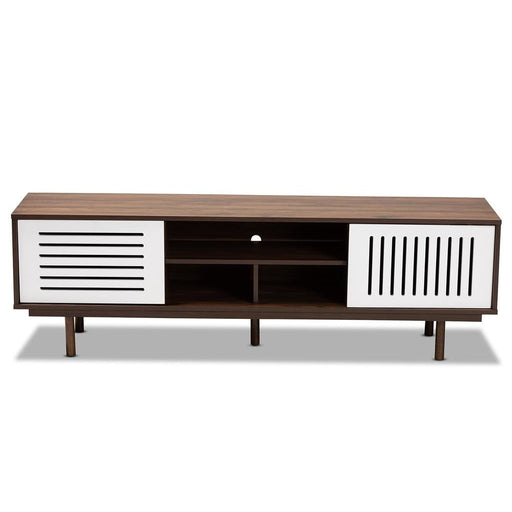Mio Walnut Brown and White Wood TV Stand