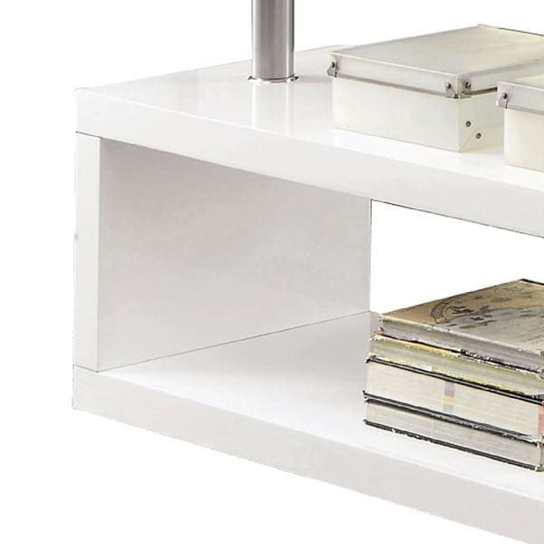 Mobi Glass Top Desk With X Shaped Side Panel In White And Clear
