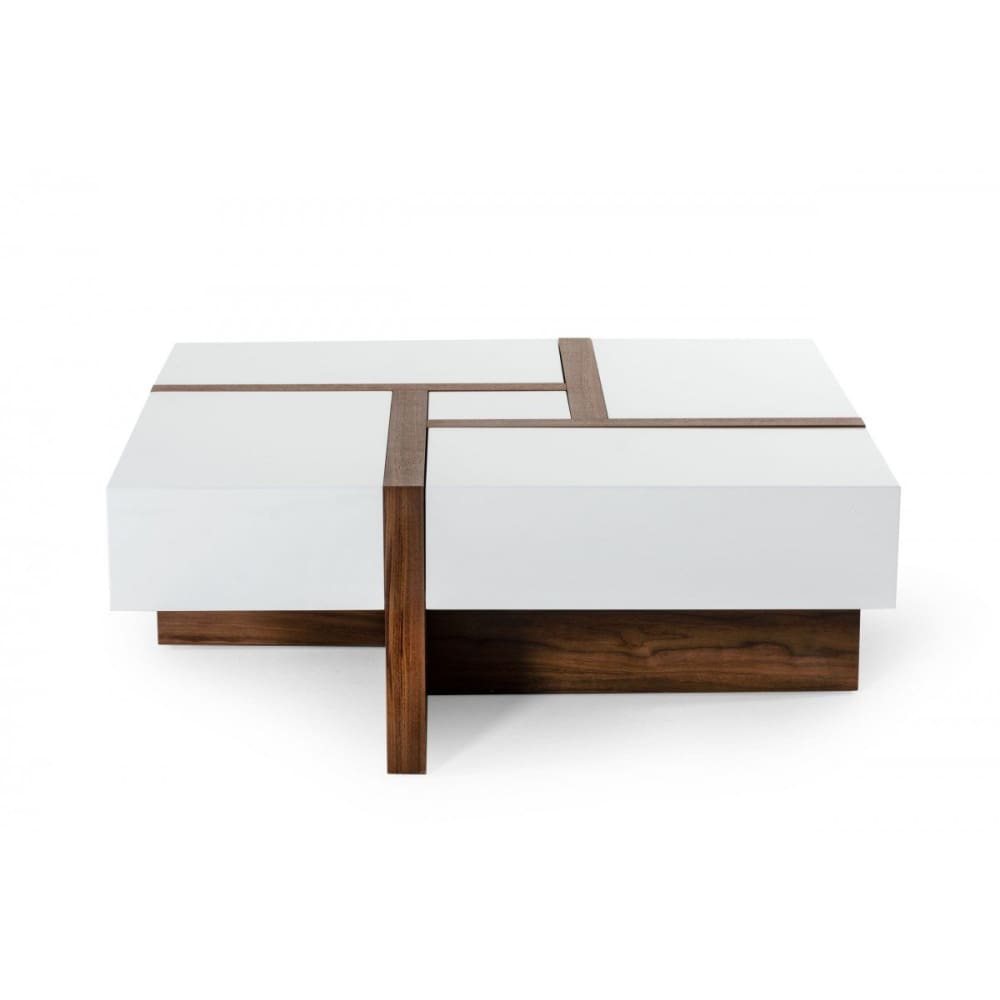 Modrest Makai Modern White and Walnut Square Coffee Table
