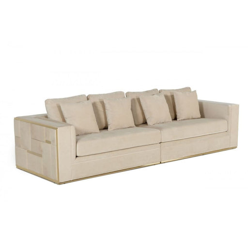 Mowry Beige and Gold Glam Sofa