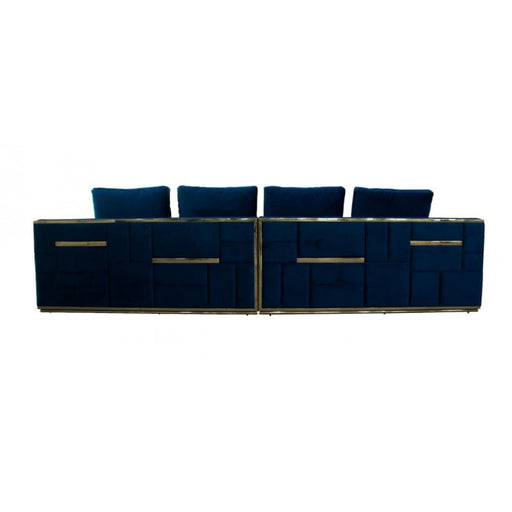 Mowry Blue and Gold Glam Sofa