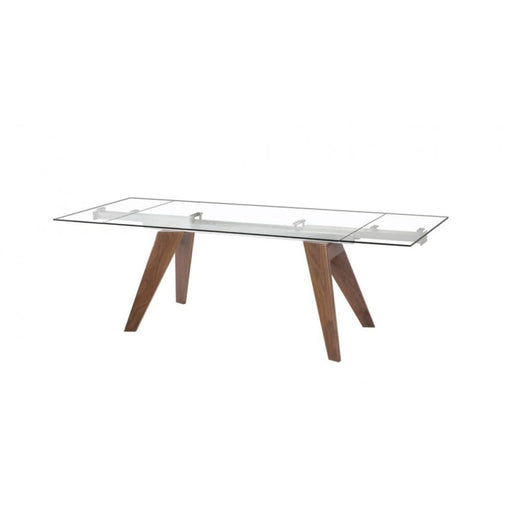 Muse Extendable Glass Dining Table Walnut