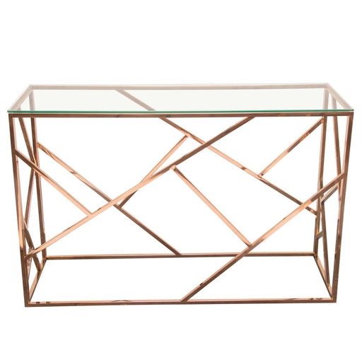 Nest Rectangular Console Table with Clear Glass Top Rose Gold