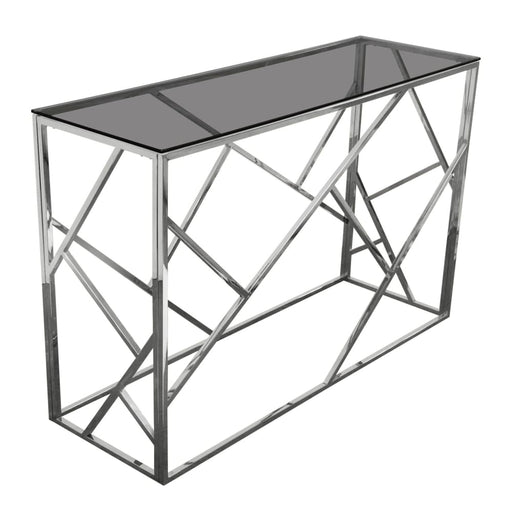 Nest Rectangular Console Table with Smoked Glass Top Steel