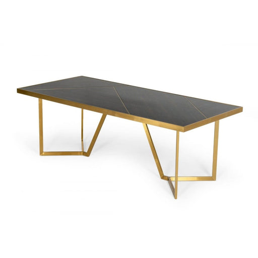 Nolte Black Zebrawood and Gold Dining Table