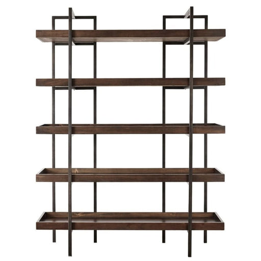 Othello Bookcase With 5 Shelves Metal Frame Brown And Black