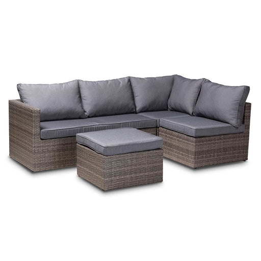 Pamela 4 Pc Outdoor Lounge Set Grey and Brown Rattan