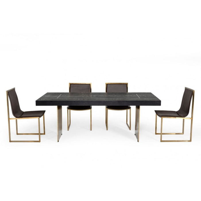 Perret Black Ash and Brass Gold Dining Table