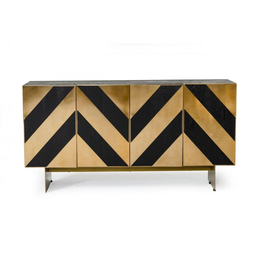 Perret Black Ash & Brass Gold Modern Buffet