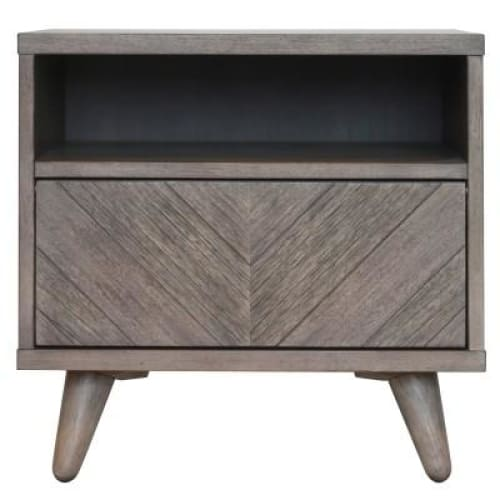 Piero Chevron Night Stand/SideTable Weathered Gray