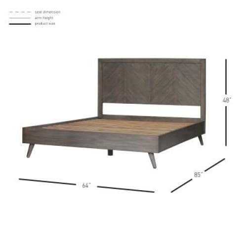 Piero Chevron Queen Bed Weathered Gray
