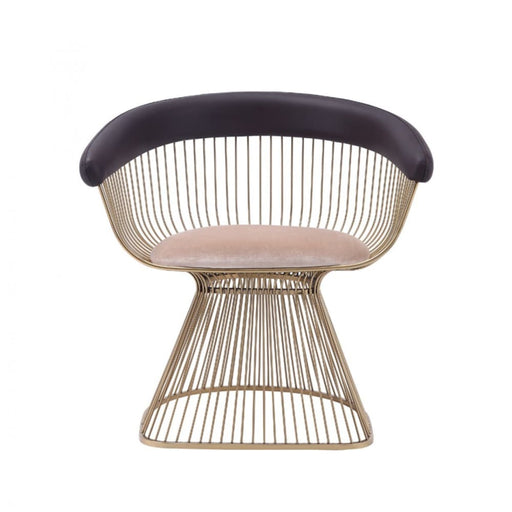 Platner Dining Chair Gold Brown Back Cream Seat