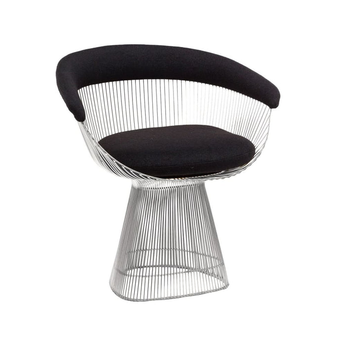 Platner Lounge Chair Chrome Black Fabric
