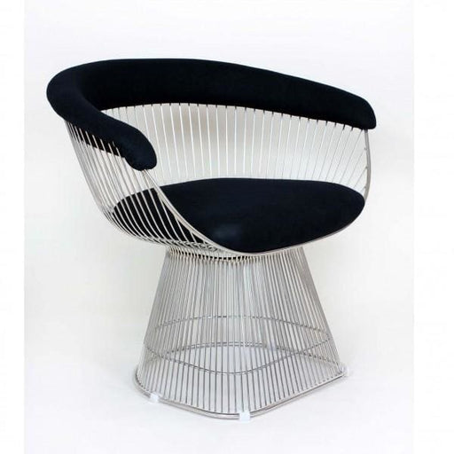 Platner Lounge Chair Chrome Black Leather