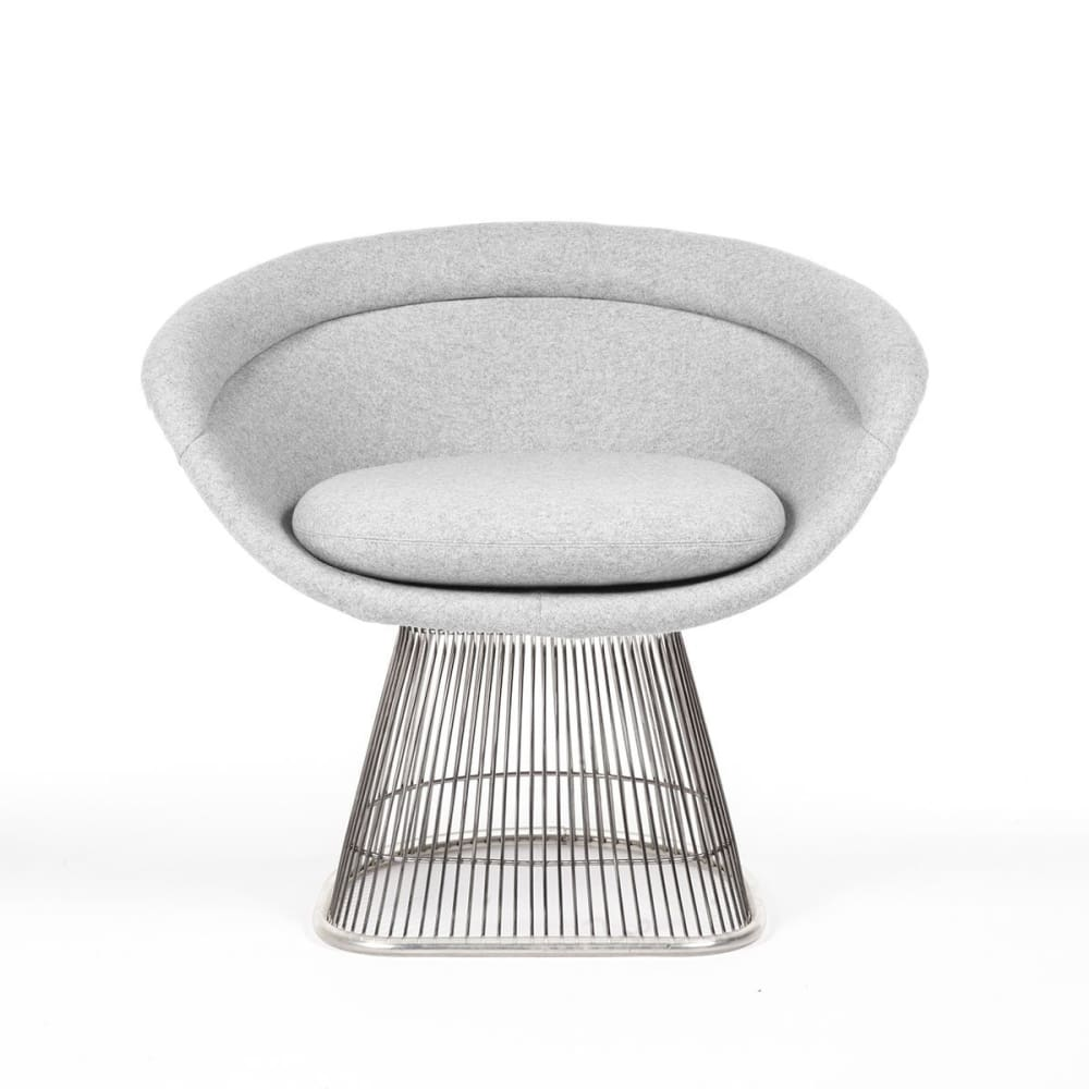 Platner Lounge Chair Fiberglass Grey Wool Blend Fabric