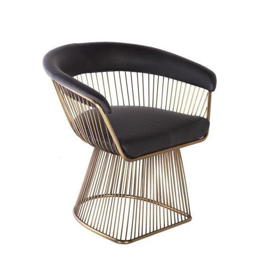 Platner Lounge Chair Gold Black Leather