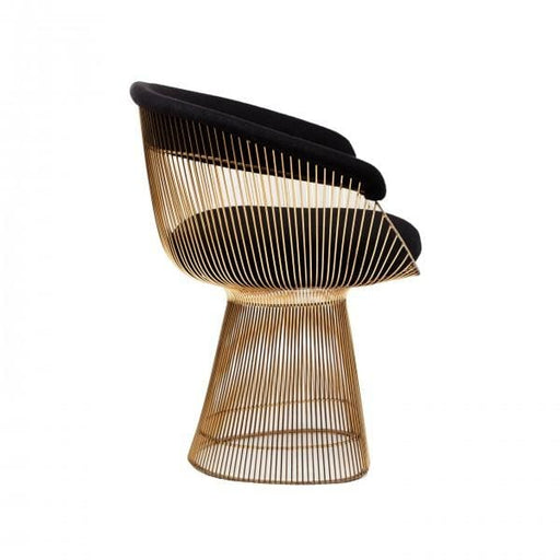 Platner Lounge Chair Gold Black Wool Fabric