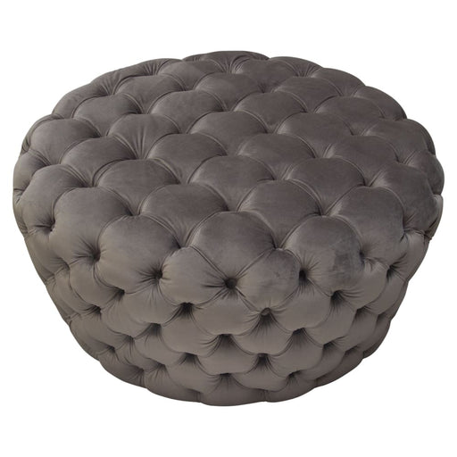 Posh Tufted Round Accent Ottoman in Dusk Grey Velvet