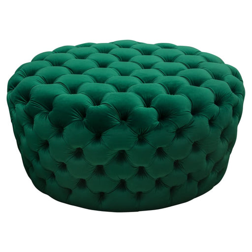 Posh Tufted Round Accent Ottoman in Emerald Green Velvet
