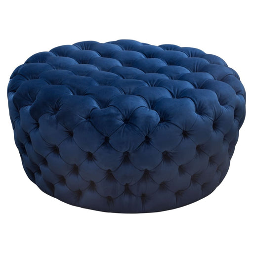 Posh Tufted Round Accent Ottoman in Navy Blue Velvet
