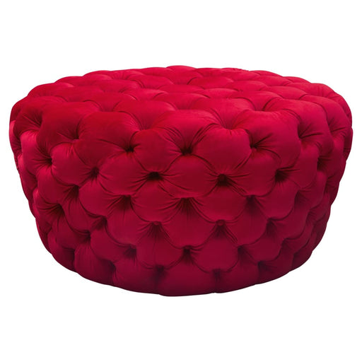 Posh Tufted Round Accent Ottoman in Red Velvet