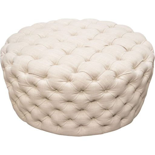 Posh Tufted Round Accent Ottoman in Sand Linen