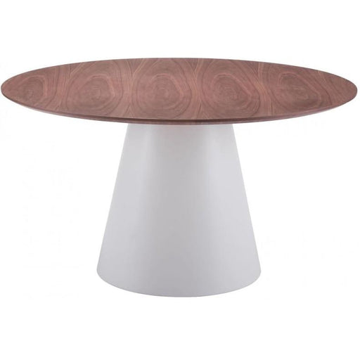 Query White and Walnut Round Dining Table