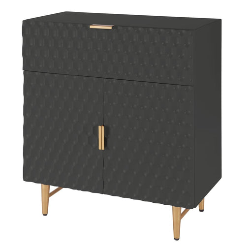 Reggie 1-Drawer Geometric Small Cabinet-Black
