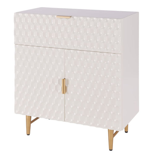Reggie 1-Drawer Geometric Small Cabinet-White