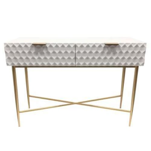 Reggie Geometric Console Table Glossy White