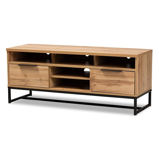 Reilly Industrial Rustic Oak Finished TV Stand
