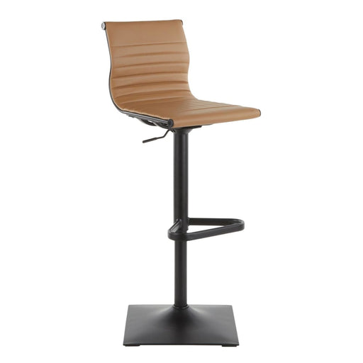 Ribbed Classic Bar Stool Black Metal Camel Vegan Leather