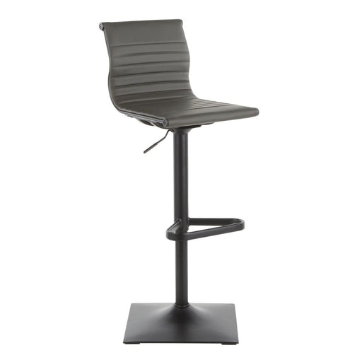 Ribbed Classic Bar Stool Black Metal Grey Vegan Leather