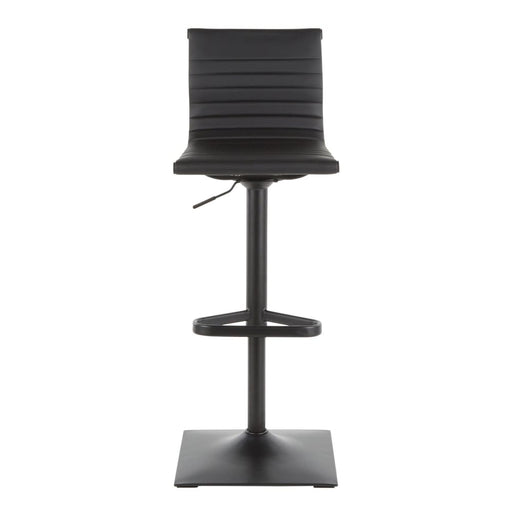 Ribbed Classic Bar Stool Black Metal Vegan Leather