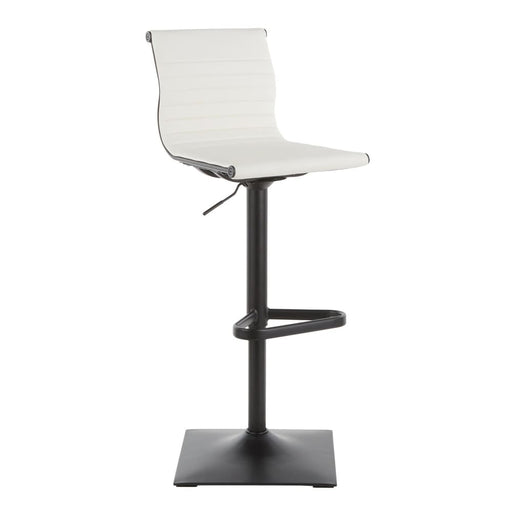 Ribbed Classic Bar Stool Black Metal White Vegan Leather