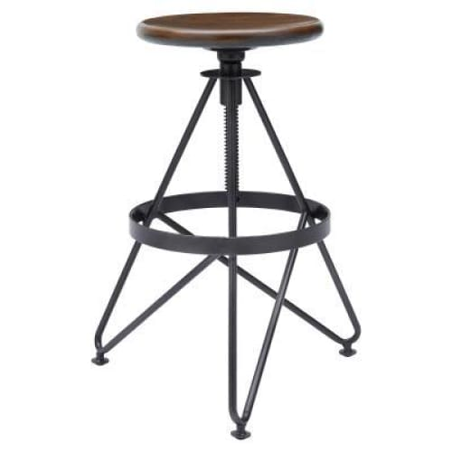 Rico Adjustable Gunmetal Stool Walnut