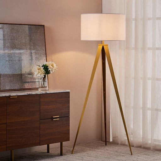 Roma Matte Gold Tripod Floor Lamp White Shade