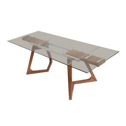 Rutherford Walnut Extendable Dining Table Smoked Glass