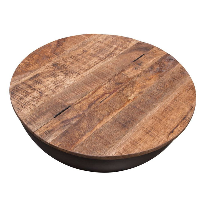Salem Round Drum Storage Coffee Table Mango Wood Top