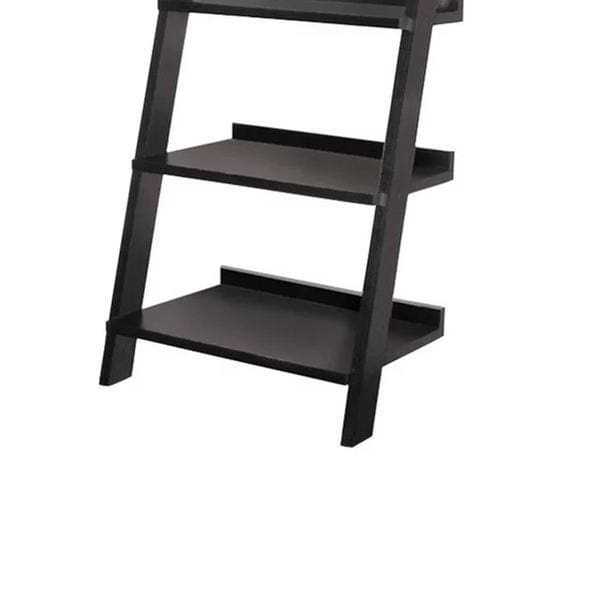 Salter Modern Ladder Bookcase With Five Shelves Black