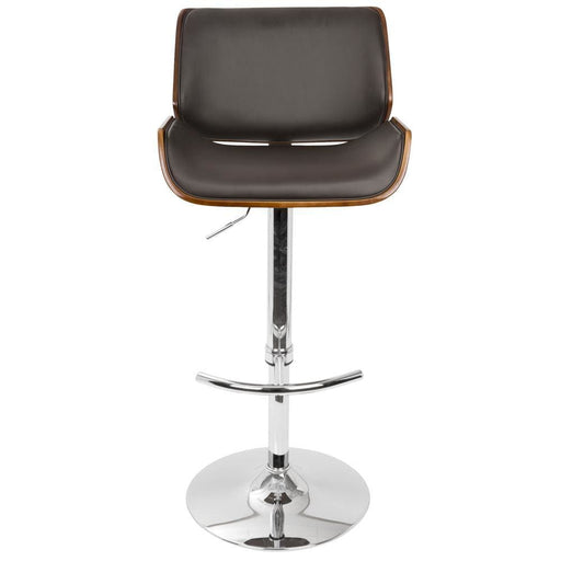 Santo Mid Century Adjustable Bar Stool Cherry Wood Brown