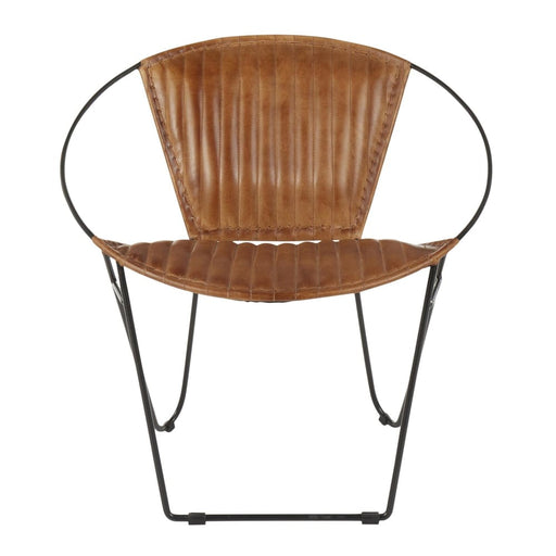 Saturn Chair Tan Leather Black Metal
