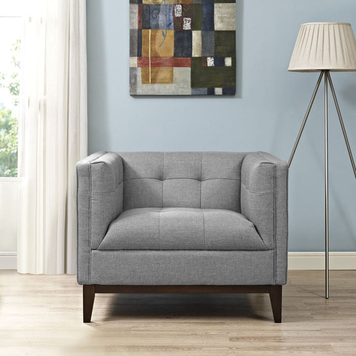 SERVE UPHOLSTERED FABRIC ARMCHAIR