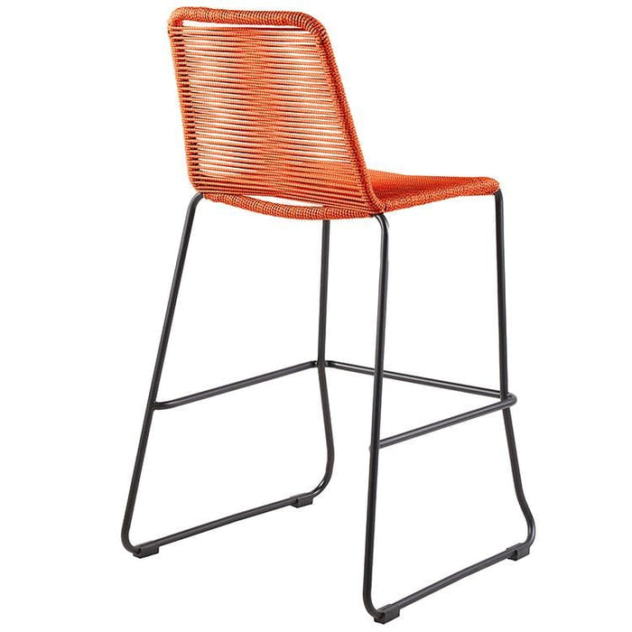 Shasta 26 Outdoor Metal and Orange Rope Stackable Counter Stool