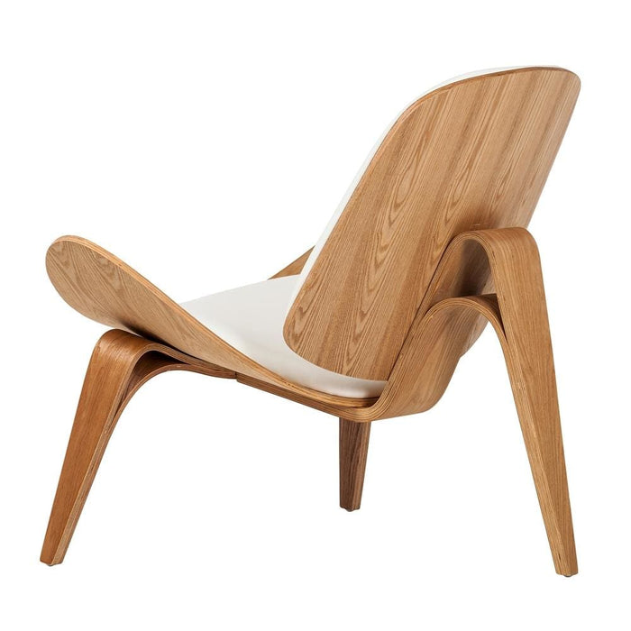 Shell Chair Medium Walnut White Leather