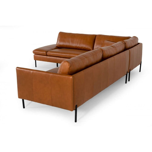 Sherman Cognac LAF Chaise Leather Sectional Sofa