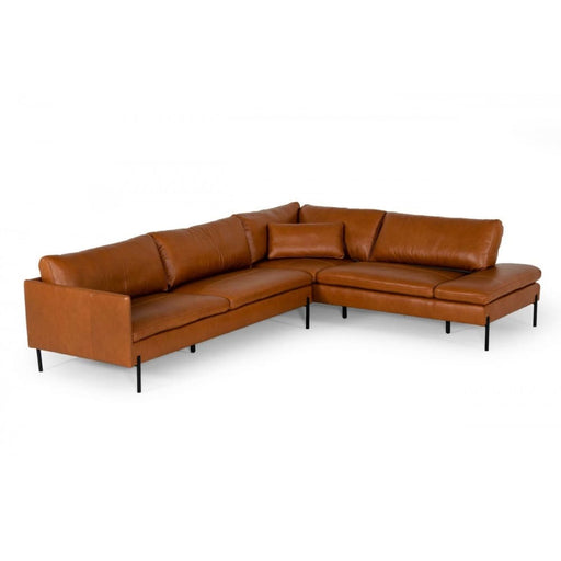 Sherman Cognac RAF Chaise Leather Sectional Sofa