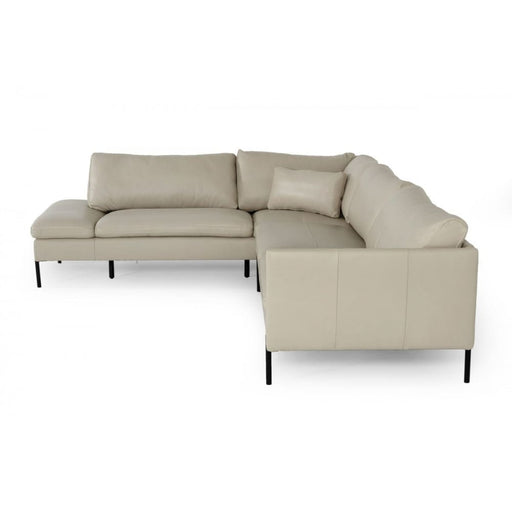 Sherman Grey LAF Chaise Leather Sectional Sofa