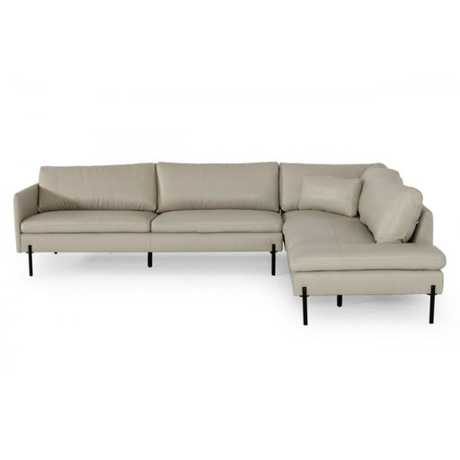 Sherman Grey RAF Chaise Leather Sectional Sofa