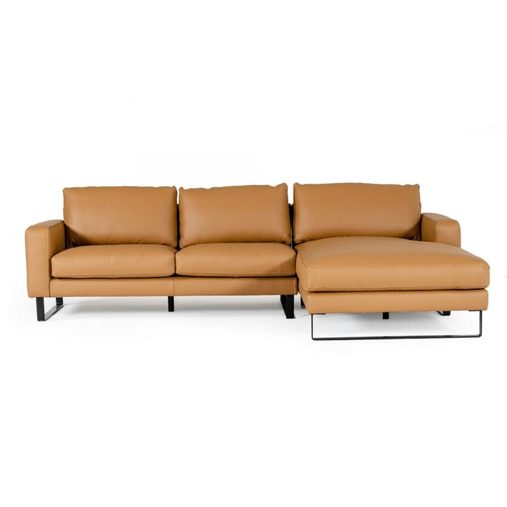 Shine Italian Leather Cognac Sectional